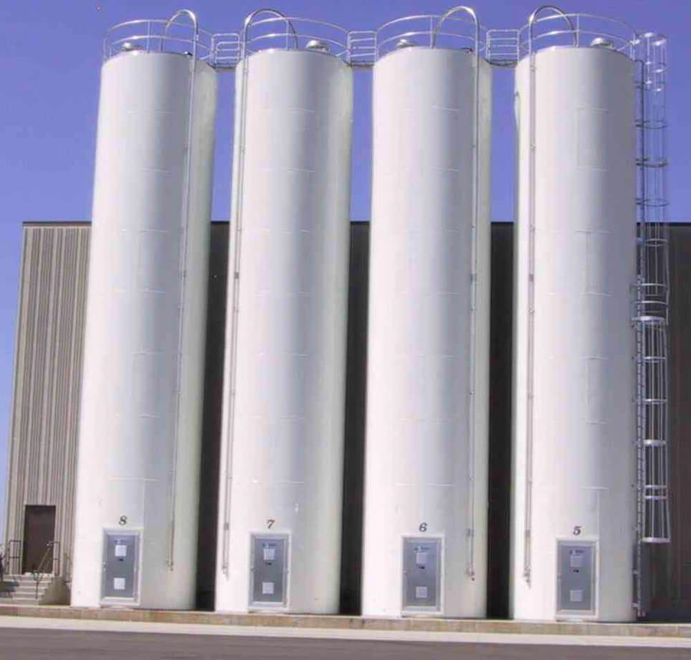 4 Silos 12Ft Dia x 60Ft tall