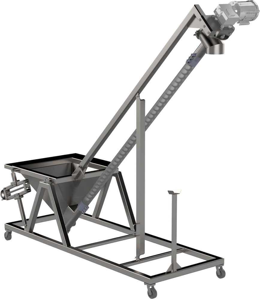Sanitary Portable Flexible Screw Conveyor Feeder With Hopper & Adjustable height