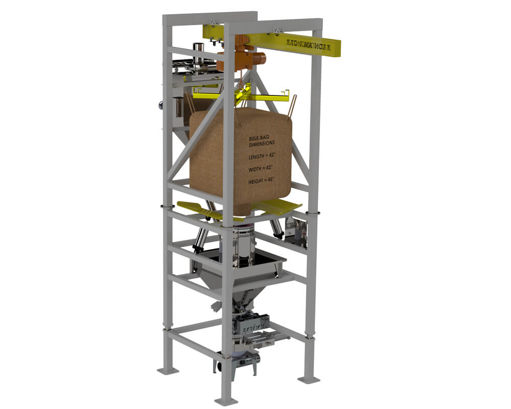 Bulk bag unload to pneumatic convey line
